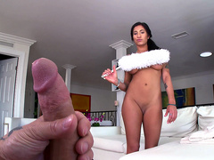 Latina Maid Stacy Jay Cleans Naked And Sucks On Huge Cock